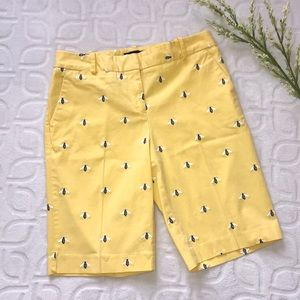 TALBOTS Yellow Embroidered Bee Summer Shorts Sz 4